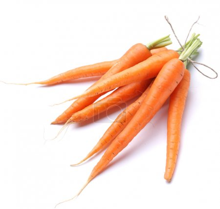 Photo for Ripe fresh carrots on a white background. - Royalty Free Image