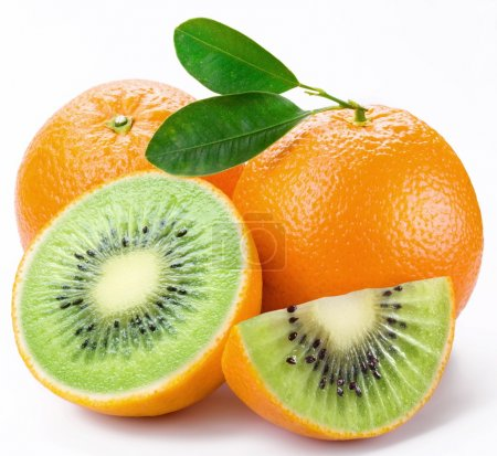 Flesh kiwi cut ripe orange. Product of genetic engineering. Comp