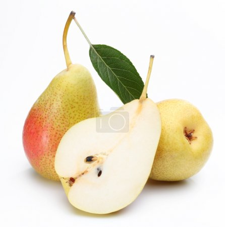 Two ripe pears and a half of ones.