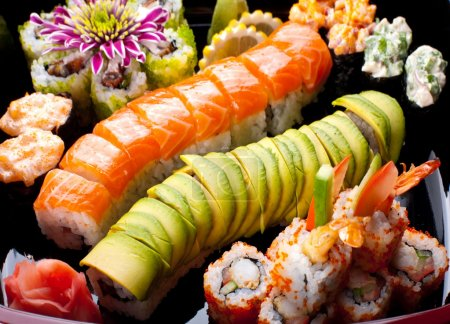 Photo for Japanese sushi rolls. View from above. - Royalty Free Image