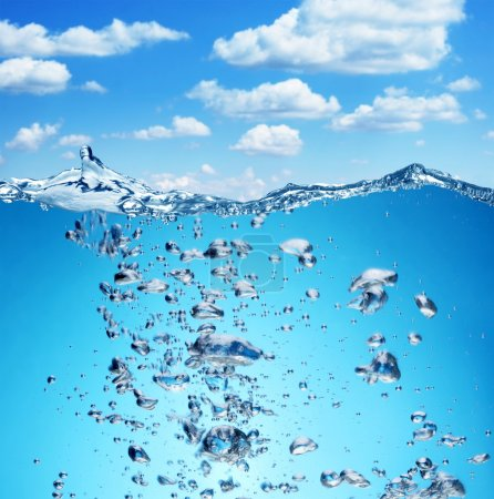 Air bubbles rise from the bottom of the ocean to the surface.