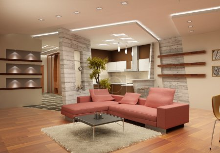 Modern interior of a drawing room in light tones with a kind on kitchen. 3d