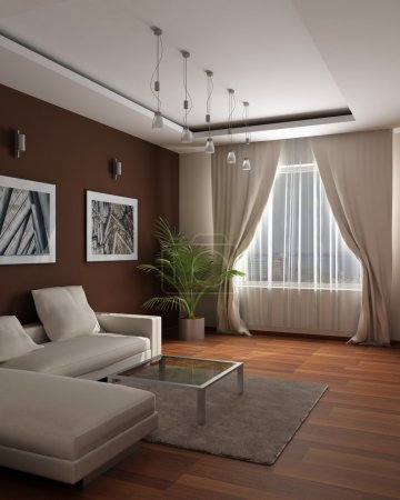 3d rendering.Modern design of a guest room with sensation of a cosiness and