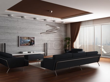 3d rendering. Interior of a modern drawing room of a room with two dark sof