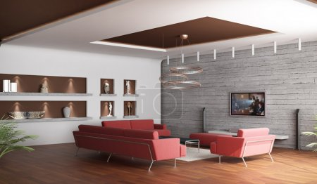 3d rendering. Interior of a spacious drawing room of a room with three red
