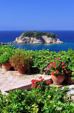 Garden veranda overlooking Aegean