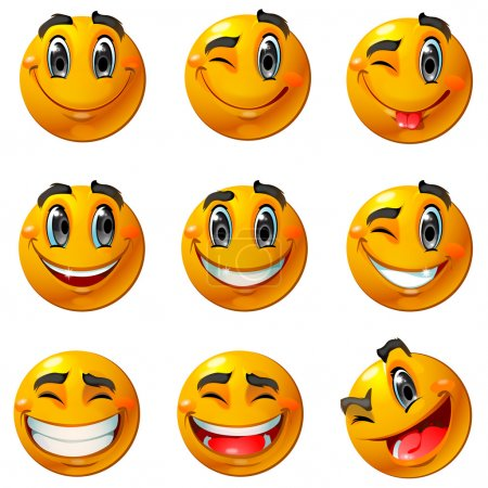 Photo for Nine smiling faces, they all are happy and laughing. Different emotions from light smile to laugh. - Royalty Free Image