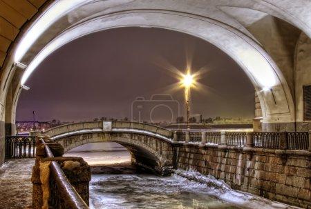 St. Petersburg, ambankment of Neva, winter canal