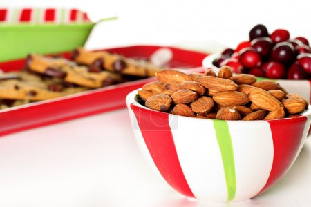 Shot of holiday almonds & cranberries with cookies