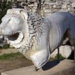 Stone lion on ruins of Apollo temple in Didim, Tur...