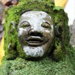 Face of green demon in temple, Bali, Indonesia...