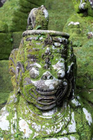 Head of green demon and staircase, Bali, indonesia...