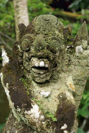 Face of green demon and teeth, bali...