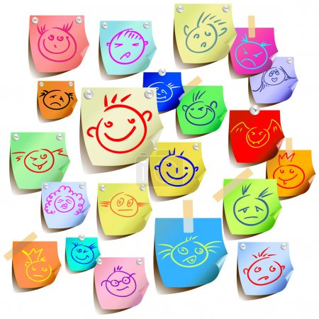 Illustration for Tags with emoticons, this illustration may be useful as designer work - Royalty Free Image