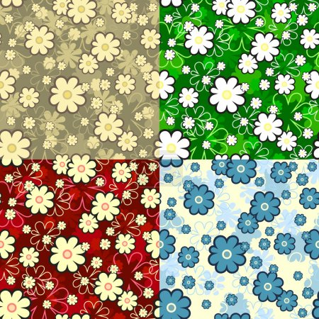 Illustration for 4 colors seamless floral texture, this illustration may be useful as designer work - Royalty Free Image