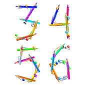 Letters composed of stationery this illustration may be useful as designer work