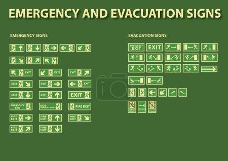 Illustration pour Panneaux d'urgence et d'évacuation - image libre de droit