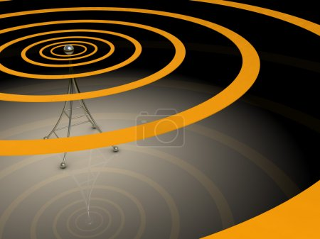 Photo for 3d illustration of broadcasting antenna with radio waves over dark background - Royalty Free Image