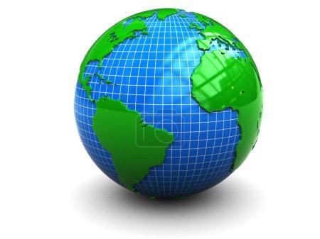 Photo pour Illustration 3D abstraite du globe terrestre sur fond blanc - image libre de droit