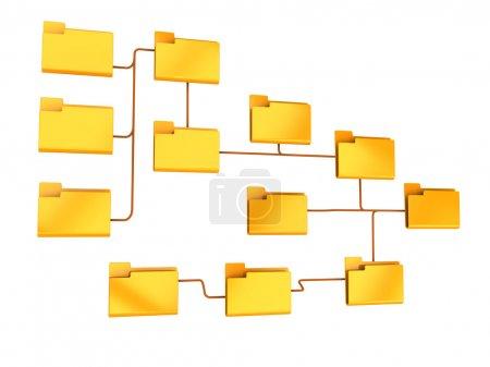 Photo pour Illustration 3D de la structure des dossiers isolé sur fond blanc - image libre de droit