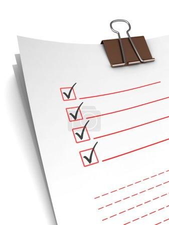 Photo pour Illustration 3d des pages du questionnaire avec crayon - image libre de droit