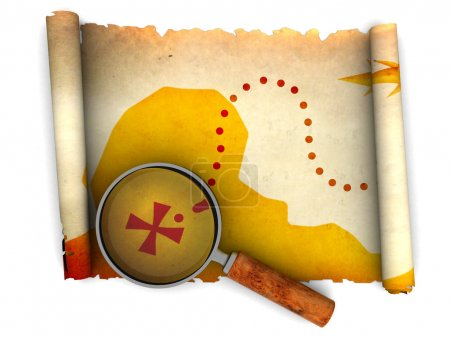 Photo for 3d illustration of an ancient treasure map and magnify glass - Royalty Free Image