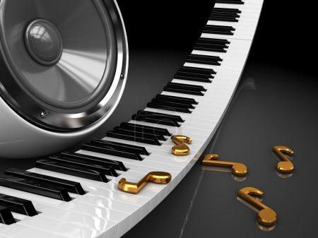 Photo pour Illustration 3D abstraite des touches de piano et haut-parleur audio - image libre de droit