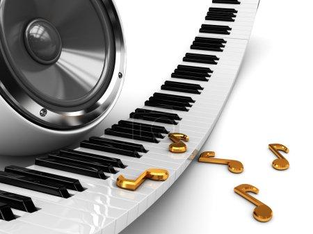 Photo pour Abstrait 3d illustration musique avec piano et haut-parleur - image libre de droit