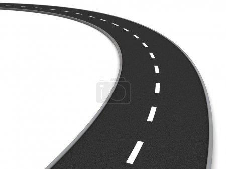 Photo pour Illustration 3D de la courbe de route asphaltée sur fond blanc - image libre de droit