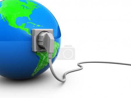 3d illustration of earth globe with power cable an...