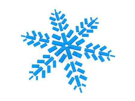 Foto de Ilustración 3d abstracto del copo de nieve azul sobre fondo blanco - Imagen libre de derechos