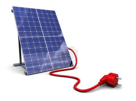 Foto de Ilustración 3d del panel solar con enchufe de alimentación, sobre fondo blanco - Imagen libre de derechos