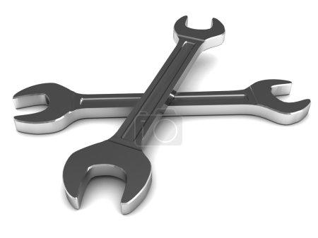 Photo pour Illustration 3D de deux clés en acier sur fond blanc - image libre de droit