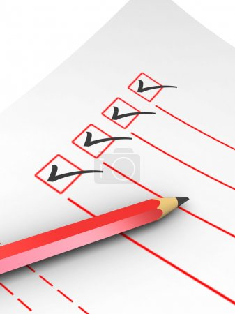 Photo pour Illustration 3D de la liste de contrôle avec crayon sur fond blanc - image libre de droit