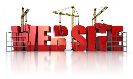 Photo for 3d illustration of three cranes building text 'web site' over white background - Royalty Free Image