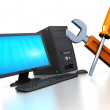 Abstract 3d illustration of computer repair servic...