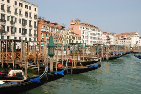 Venice harbour with gondolas