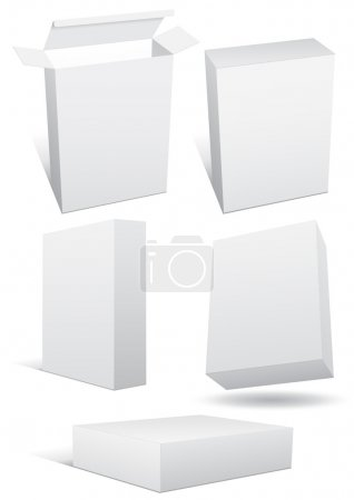 Illustration for Vector set of a blank (retail) box. All objects are isolated. Box has a transparent background. Colors are easy to adjust/customize. - Royalty Free Image