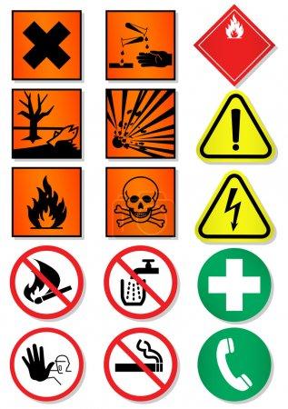 Vector set of international signs, laboratory associated.