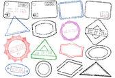 Passport or post stamp vector illustration set