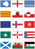 Vector flag set of world continents and misc countries