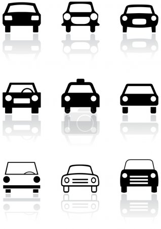 Illustration for Vector set of different car symbols. All vector objects are isolated. Colors and transparent background color are easy to adjust. - Royalty Free Image