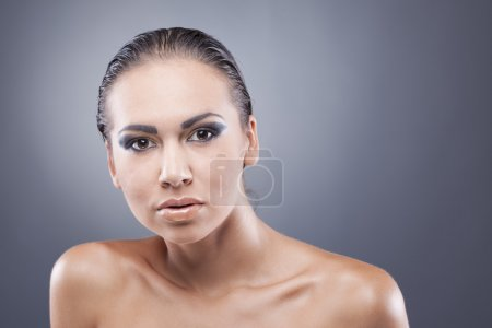 Closeup portrait of passionate brunette woman looking at camera