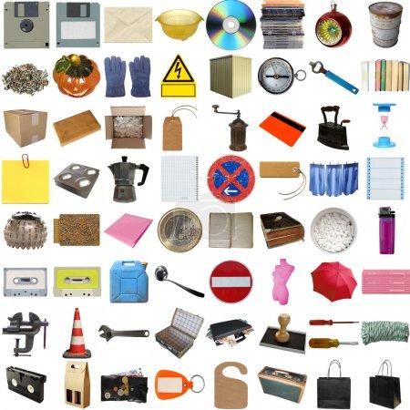 Photo pour Beaucoup d'objets isolés sur un fond blanc (toutes les images du collage sont les miennes ) - image libre de droit