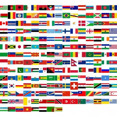 Photo pour Flags of the world, including all states from all continents (Europe, America, Asia, Africa, Oceania) - image libre de droit