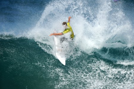 male surfer on  big wave