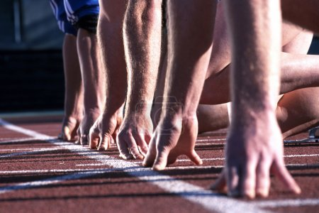 Photo for Athlete runners hands at start line - Royalty Free Image