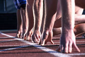 Athlete  hands at start line