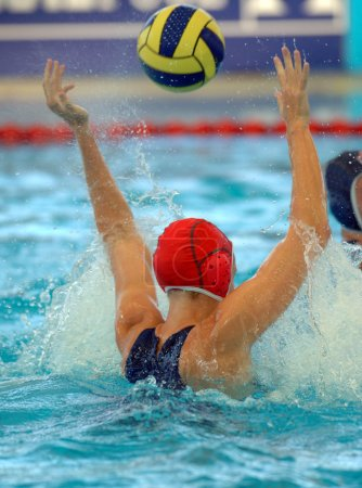water polo player with ball