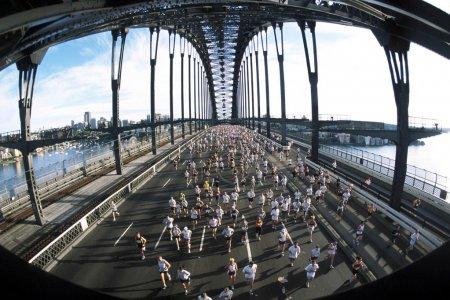 Marathon runners cross